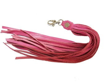 Pink Leather Tassel, Pink Tassel Purse Charm, Pink Leather Key Fob, Long Tassel Charm, Pink Leather Keychain Tassel, Purse Accessory