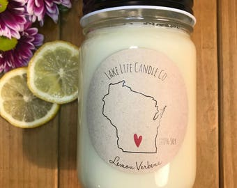 Wisconsin Heart Handmade Soy Candle: Lake Life Candle Co. Made in WI