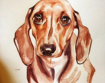 Watercolor Pet Portrait Sketch from your photo 5x7 inches