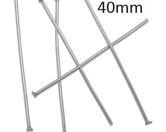 100+ Pieces 40mm Stainless Steel Headpin 21 Gauge 0.7mm