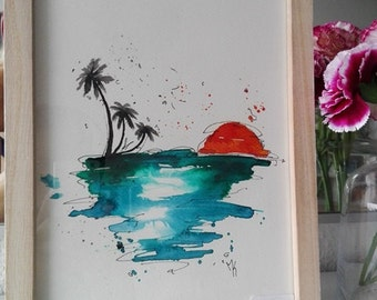Sea side, one of a kind, framed & hand painted