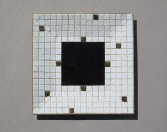 Mid Century Tile Dish 1960s Vintage Handmade Mosaic Tile Tray Black White Gold Change Dish 8 Inches Square Catch All