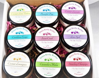 9 Shea Body Butters.  2oz Variety Pack