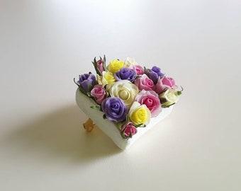 """Brooch """"Endless Roses"""", cold porcelain"""