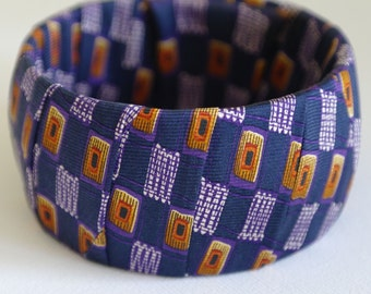 Handmade Abstract Silk Bangle, Purple Squares, Wide Cuff