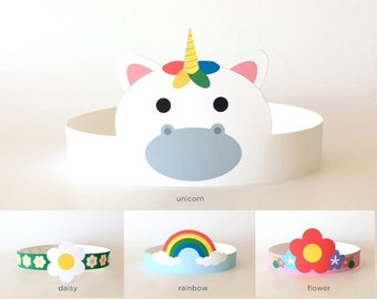 Rainbow and Unicorn Birthday Party Hat/Headband/Crown/Costume, Baby Shower Supplies/Decorations/Decor for Kids/Girls/Adults | Flower, Daisy
