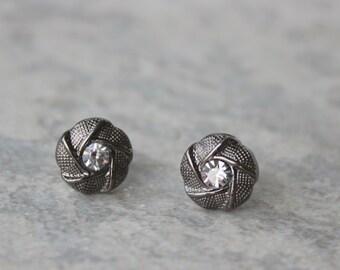 Small Earrings, Gunmetal Earrings, Dark Silver Earrings, Small Post Earrings, Gunmetal Jewelry, Gift for Her, Jewelry Gift, Silver Studs