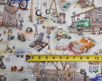 The Good Life Country Hillybilly Holler Redneck Yard  BY YARDS Paintbrush Fabric