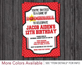 Dodgeball Birthday Invitation - Sports Birthday Invitations