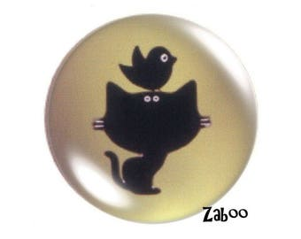 4 cabochons 16mm glass, cat and bird silhouette, Khaki and black
