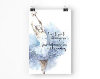 Dance Away Ballerina - 11x17 Poster - Instant Download Digital Print