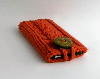 iPhone 6/7 iPhone 4, 5 Samsung Galaxy s3,4,5,6or 7  Hand Knit Burnt Orange Coconut Button Crochet Loop Office Gadget Case