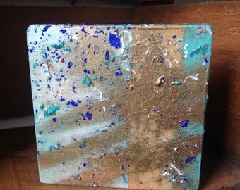 Teal Turquoise Blue Gold Abstract Mixed Media Painting