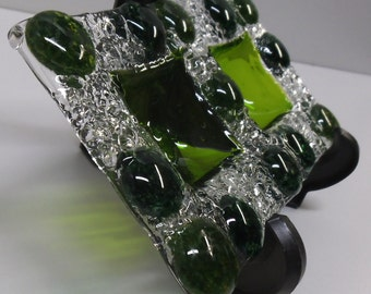Green double dip bowl, fused glass, gift for her, gift for him, ring dish