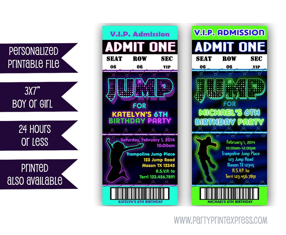 Printable Jump Birthday Invitation Trampoline Park Party