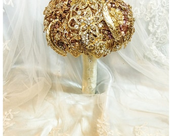 Gold Brooch Bouquet. FULL PRICE on made to order Crystal Bling Jeweled Diamond Bridal Broach Bouquet