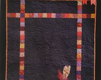 """FEATHER QUILT - Pattern - by Australian Designer Claire Gee.  Finished size 40.5"""" by 50.5.""""  Wall hanging size."""