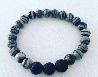 Zebra Lava Bead Bracelet