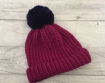 Merino wool hat adult knitted beanie mothers day gift matching mother baby hat expecting mother ski hat bobble hat pom pom purple beanie