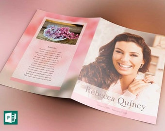 Glamour Funeral Program Tabloid Publisher Template