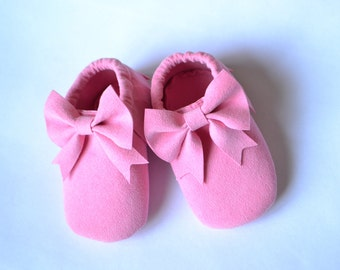 Suede loafers with bow for babies and girls