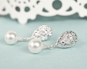 Bridal Earrings, Drop Pearl Bridal Earrings, Wedding Earrings, Bridal Jewelry