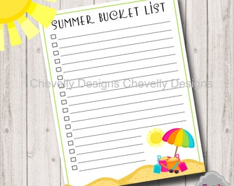 Summer Bucket List Printable - SummerPlan001-Bucket List
