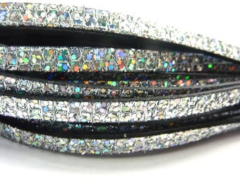 Leather Strip 5mm flat silver iridescent, sold by 20 cm