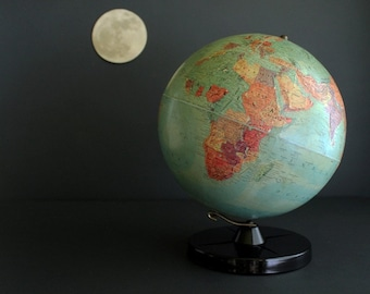 "Vintage Globe 1950s Stereo Relief 12"" World Globe by Replogle"