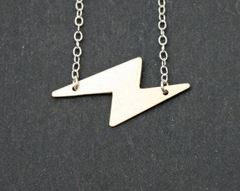 Tiny Lightning Bolt Necklace in Brass or Sterling Silver