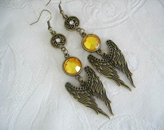 Earrings, the wings of angels, bronze metal hooks, acrylic cabochon yellow faceted, whimsical jewelry, women's fashion