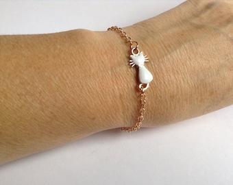 Rose Gold Kitty Cat Enamel Charm Bracelet