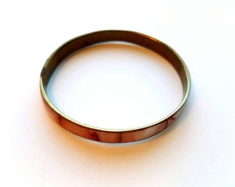 Vintage Brass with Peach Dyed Mother of Pearl Inlay Bangle Bracelet