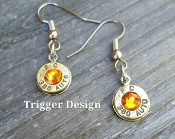 Simple 380 Caliber Dangle Bullet  Casing Earrings- Light Orange