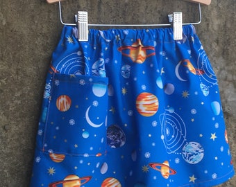 Solar System Print Girls Cotton Skirt - Fun Space Theme Party Clothing for Baby, Toddler, Big Kid - Great Birthday or Baby Shower Gift