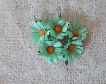 Mulberry Paper flowers, Daisies, Cool Mint, for Scrapbooking, Card Making, Mixed Media, Mini Albums, Home Decor