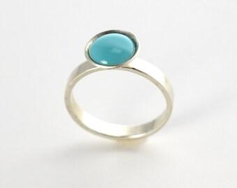 Sterling Cup Ring | Aquamarine Silver Ring | Stacking Ring | Enamel Ring | Statement Ring | Boho Ring
