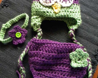 Crochet sleepy owl hat and diaper cover set