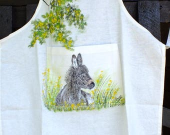 painting on fabric: a cute little DONKEY is painted on an apron
