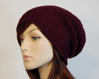 Color Choices, Burgundy Slouch Hat, Burgundy Slouchy Beanie, Burgundy Womens Hat, Teen Slouchy Hat, Winter Hats, Mod, MarlowsGiftCottage