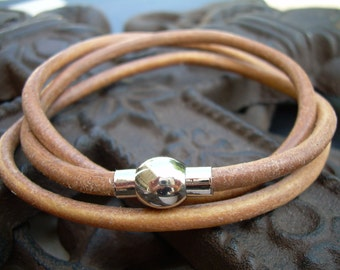 Natural Mens  Womens Unisex  Triple Wrap Leather Bracelet with Stainless Steel Magnetic Clasp, Leather Bracelet, Mens , Womens, Gift