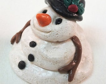 Cute Three Day Old Melting Snowman, One of a Kind Holiday Decor, Miniature Art Doll Sculptures Figurines Christmas Collectible OOAK clay