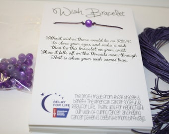 Relay For Life Wish Bracelet - Fundraising DIY pack to make 50 - Ready to go with FREE domestic shipping
