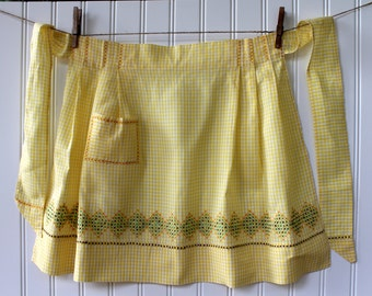 Vintage Half Apron - Yellow and White Check Gingham with Orange Green Brown Cross Stitch Detail