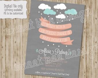 Raining Baby Shower Invitation, Rain Baby Shower, Sprinkle Invitation, Spring Shower, Baby Girl, Baby Boy - Custom Printable BOY OR GIRL