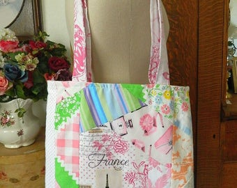 Crazy Scrap Quilted Tote Bag - Handmade French Theme Print Tote w/Pocket - READY TO SHIP