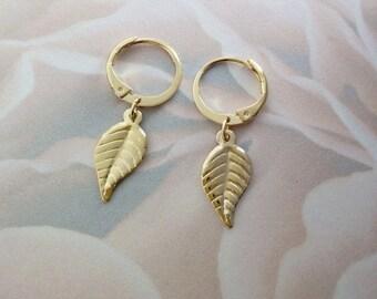 Leaf hoops, Gold leaf earrings, Gold leaf hoop earrings, Gold dangle hoop earrings, Leaf jewelry, Dangle hoop earrings, Gold hoop earrings,