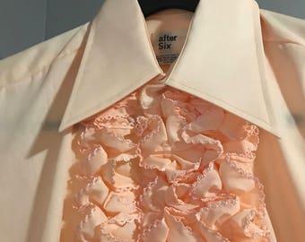 Men's 1970's Peach/Coral Ruffled Tuxedo Shirt by After Six