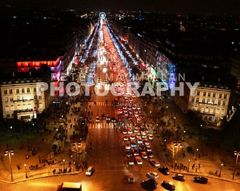 View from the Arc de Triomphe - Sparkling Night Lights - Champs Elysees - Paris