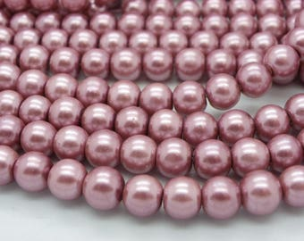 50 pearl beads 8 mm glass old Pink mother of Pearl